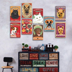 Funny Cat and Dog Wall Art Metal Hanging Signs (Mix & Match) from Gallery Wallrus | Eclectic Wall Art & Decor with Worldwide Shipping
