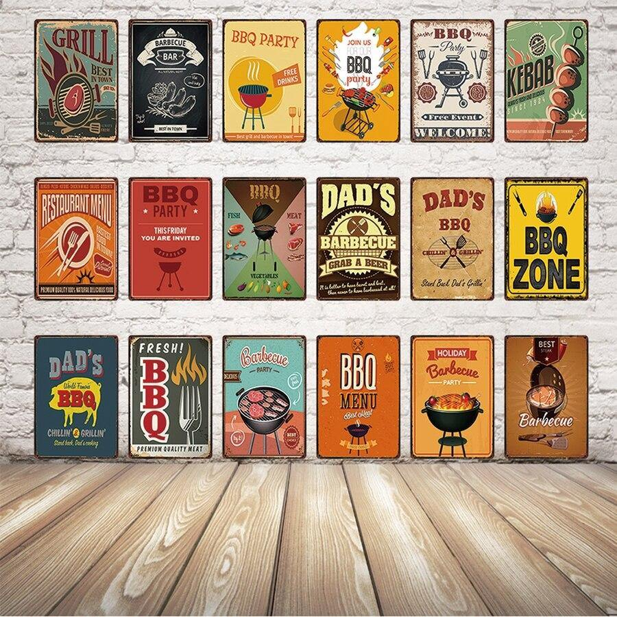 Colorful Dads BBQ Grill Metal Signs (Various Designs) from Gallery Wallrus | Eclectic Wall Art & Decor with Worldwide Shipping