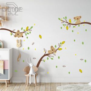 Koala Bear Tree Branches Dragonflies Wall Stickers from Gallery Wallrus | Eclectic Wall Art & Decor with Worldwide Shipping