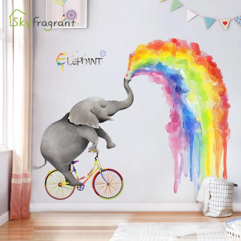 Large Elephant Nose Rainbow Animal Friends Wall Stickers from Gallery Wallrus | Eclectic Wall Art & Decor with Worldwide Shipping