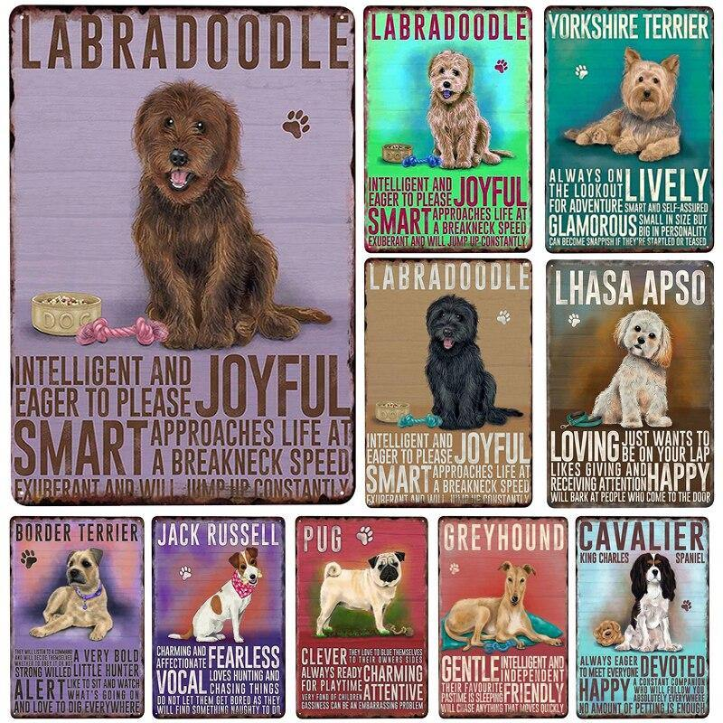 Fun Colorful Dog Breed Description Typography Wall Art Metal Signs (Mix & Match) from Gallery Wallrus | Eclectic Wall Art & Decor with Worldwide Shipping