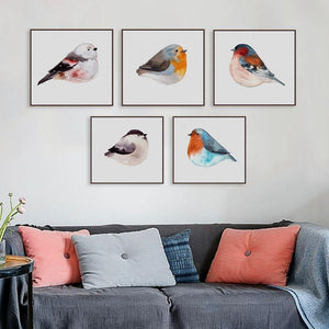 Cute Colorful Birds Watercolor Art Paintings from Gallery Wallrus | Eclectic Wall Art & Decor with Worldwide Shipping