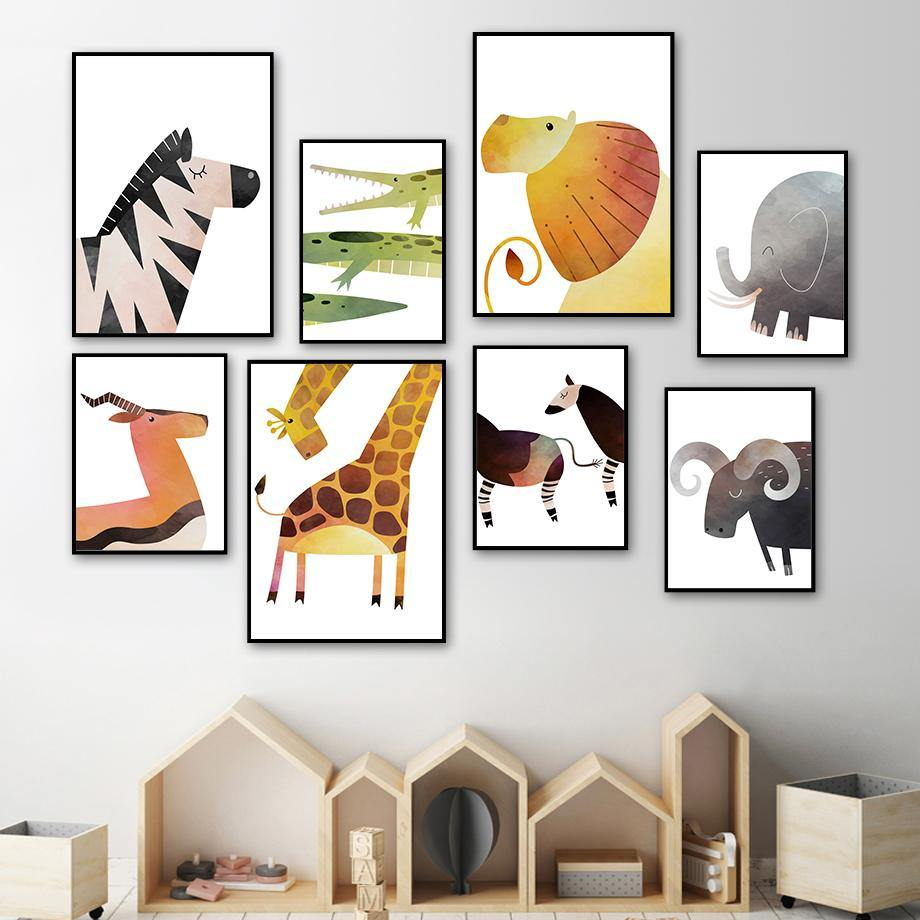 Lion Deer Elephant Giraffe Zebra Nursery Wall Art Prints from Gallery Wallrus | Eclectic Wall Art & Decor with Worldwide Shipping