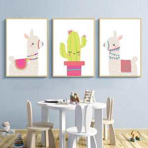 Llama Alpaca Cactus Nursery Wall Art Prints from Gallery Wallrus | Eclectic Wall Art & Decor with Worldwide Shipping