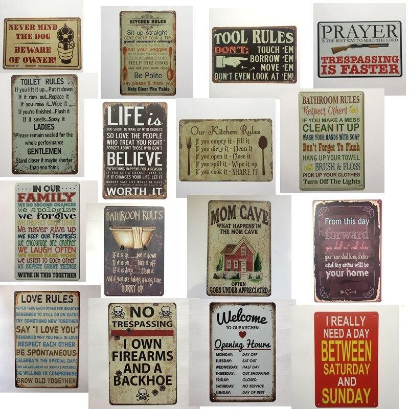 Vintage House Rules Metal Wall Signs from Gallery Wallrus | Eclectic Wall Art & Decor with Worldwide Shipping