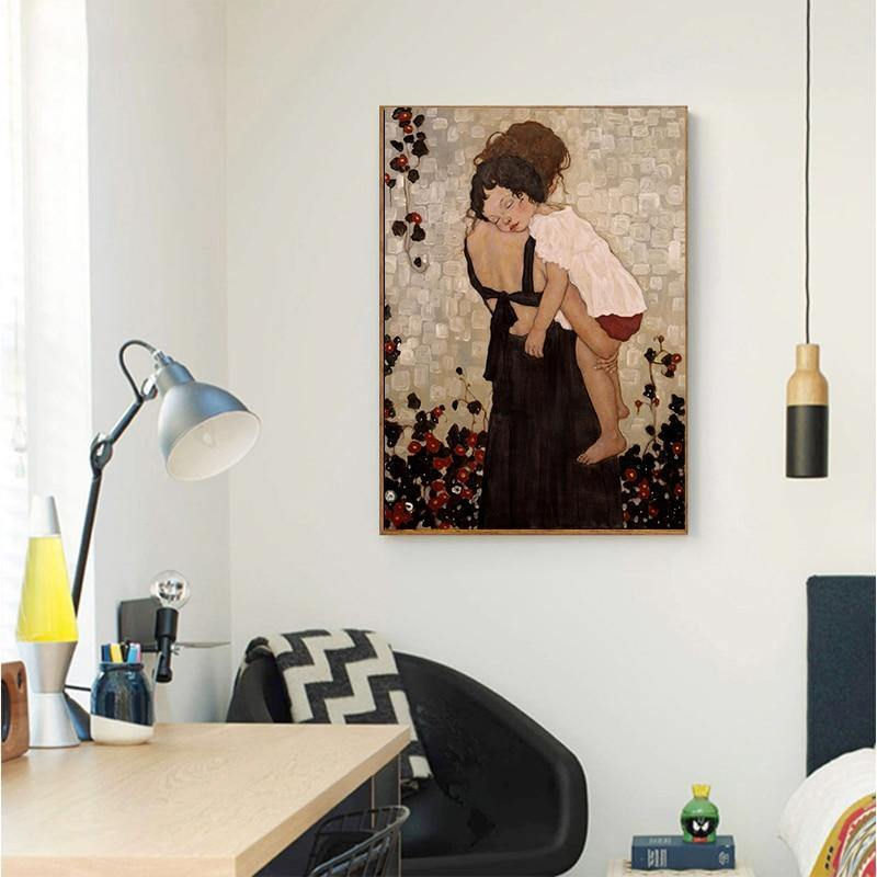 MUTU Modem Home Decor Xi Pan Mother And Child Canvas Painting Figure Prints And Posters On Canvas Wall Picture For Living Room from Gallery Wallrus | Eclectic Wall Art & Decor with Worldwide Shipping