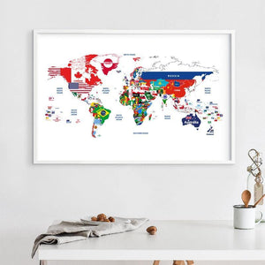 Colorful World Map Art Print from Gallery Wallrus | Eclectic Wall Art & Decor with Worldwide Shipping