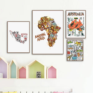 Mexico ,Africa, Australia Bright Cartoon Country Map Gallery Wall Art Prints from Gallery Wallrus | Eclectic Wall Art & Decor with Worldwide Shipping
