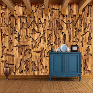 Yoga Studio Wood Carvings Wall Mural from Gallery Wallrus | Eclectic Wall Art & Decor with Worldwide Shipping