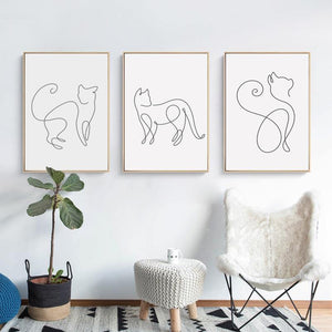 Picasso Style Cat Drawings Picture Wall Art Prints from Gallery Wallrus | Eclectic Wall Art & Decor with Worldwide Shipping