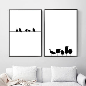 Bird on a wire Black & White Wall Art Gallery Wall from Gallery Wallrus | Eclectic Wall Art & Decor with Worldwide Shipping