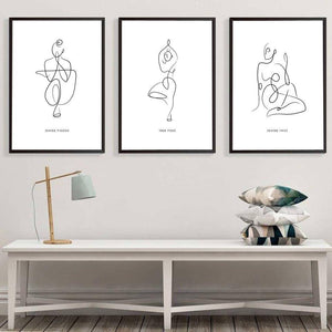 Yoga Line Drawings Gallery Wall Art Pictures from Gallery Wallrus | Eclectic Wall Art & Decor with Worldwide Shipping
