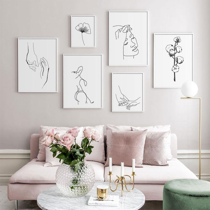 Minimalist Human Line Drawings Gallery Wall Mix & Match from Gallery Wallrus | Eclectic Wall Art & Decor with Worldwide Shipping