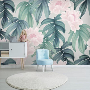 Pastel Pink Flower Banana Leaf Wall Mural from Gallery Wallrus | Eclectic Wall Art & Decor with Worldwide Shipping