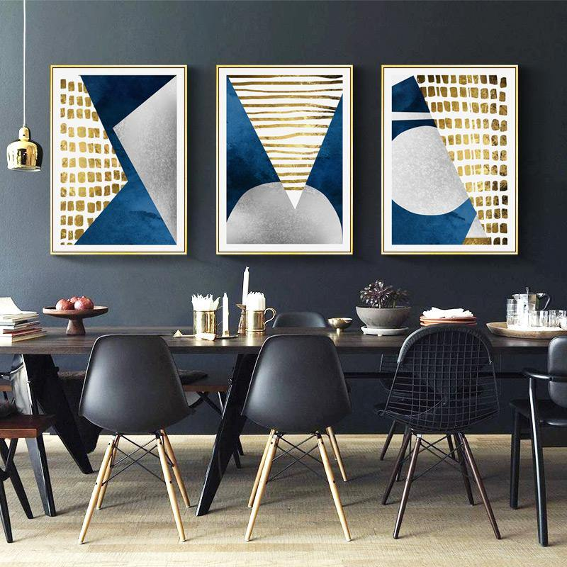 Modern Abstract Blue Gold Gray Gallery Wall Art Prints from Gallery Wallrus | Eclectic Wall Art & Decor with Worldwide Shipping