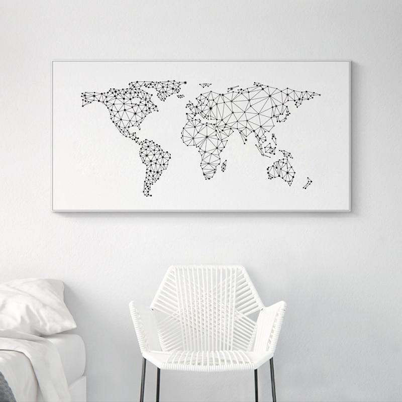 Minimalistic Black & White World Map Art Picture from Gallery Wallrus | Eclectic Wall Art & Decor with Worldwide Shipping