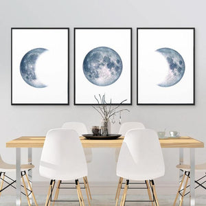 Astronomical Blue Gray Moon Wall Art Trio from Gallery Wallrus | Eclectic Wall Art & Decor with Worldwide Shipping