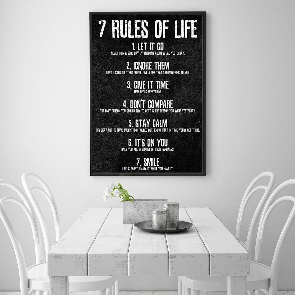Black & White 7 Rules Of Life Art Print from Gallery Wallrus | Eclectic Wall Art & Decor with Worldwide Shipping