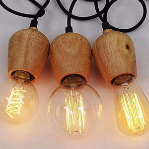 Modern Wood Pendant Lights Vintage Cord Pendant Lamp Hanging Light Fixture Black Wire Edison E27 Bulb Suspension luminaire from Gallery Wallrus | Eclectic Wall Art & Decor with Worldwide Shipping