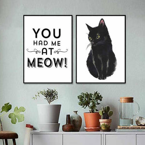 You Had me at Meow Cat Art Print Set from Gallery Wallrus | Eclectic Wall Art & Decor with Worldwide Shipping