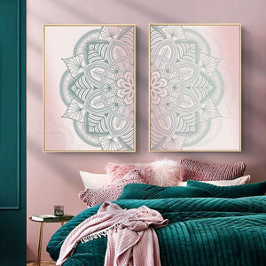 Bohemian Ombre Pink Mandala Art Duo from Gallery Wallrus | Eclectic Wall Art & Decor with Worldwide Shipping
