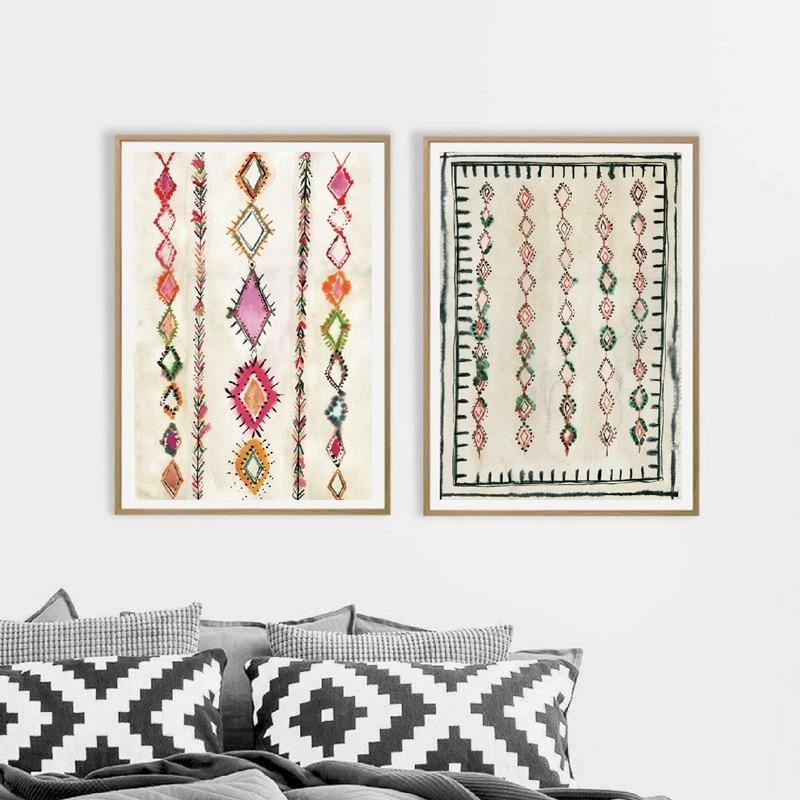 Moroccan Boho Rug Art Duo Painting from Gallery Wallrus | Eclectic Wall Art & Decor with Worldwide Shipping