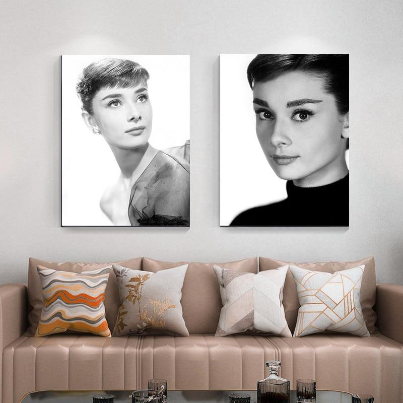 Black & White Audrey Hepburn Art Duo Portrait from Gallery Wallrus | Eclectic Wall Art & Decor with Worldwide Shipping