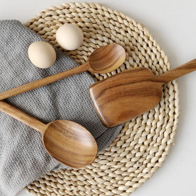 Teak Wooden Cooking Spoons from Gallery Wallrus | Eclectic Wall Art & Decor with Worldwide Shipping