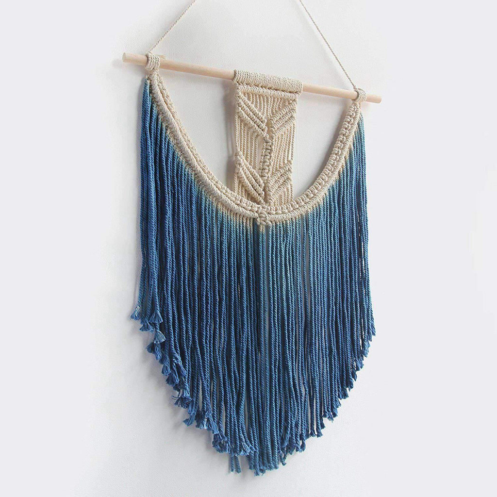 Blue Boho Macrame Tapestry Wall Hanging from Gallery Wallrus | Eclectic Wall Art & Decor with Worldwide Shipping