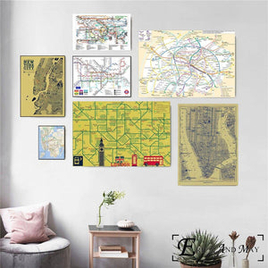 New York & London Subway Maps Gallery Wall Art Prints from Gallery Wallrus | Eclectic Wall Art & Decor with Worldwide Shipping