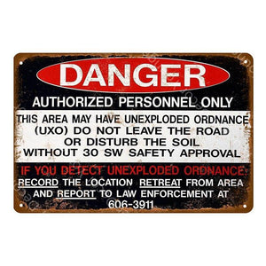 Vintage Warning Entry Metal Door Signs (Various Designs) from Gallery Wallrus | Eclectic Wall Art & Decor with Worldwide Shipping