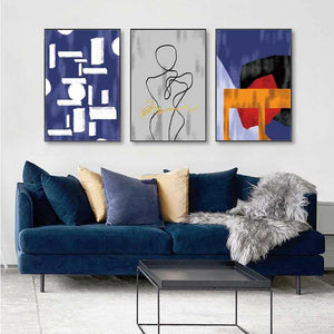 Blue Palette Minimalist Geometric Lines Art Trio from Gallery Wallrus | Eclectic Wall Art & Decor with Worldwide Shipping