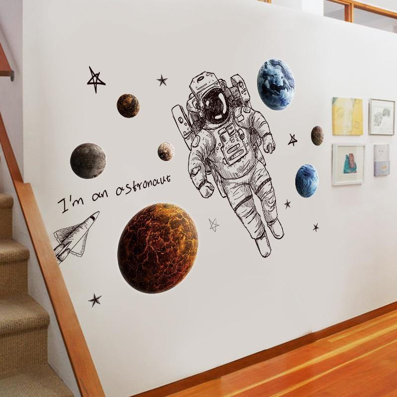 Astronaut Planet Outer Space Wall Sticker from Gallery Wallrus | Eclectic Wall Art & Decor with Worldwide Shipping