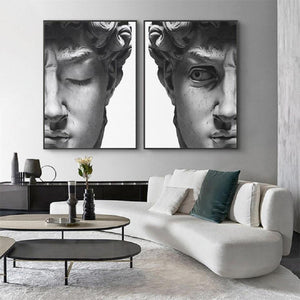 Black and White David Head Wall Art Pictures from Gallery Wallrus | Eclectic Wall Art & Decor with Worldwide Shipping