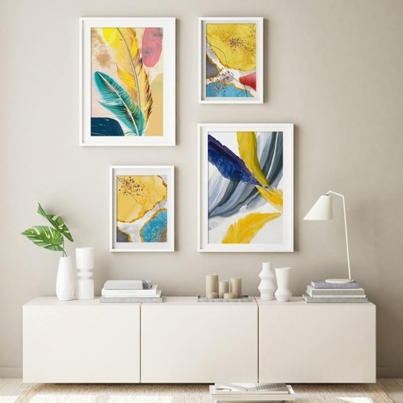 Watercolor Bohemian Golden Feather Art Paintings from Gallery Wallrus | Eclectic Wall Art & Decor with Worldwide Shipping