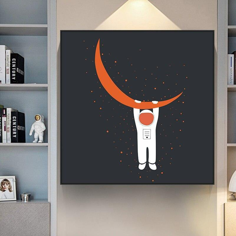 Orange Moon & Astronaut Wall Art Paintings from Gallery Wallrus | Eclectic Wall Art & Decor with Worldwide Shipping