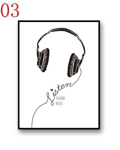 Music Headset Black & White Art Print Set from Gallery Wallrus | Eclectic Wall Art & Decor with Worldwide Shipping