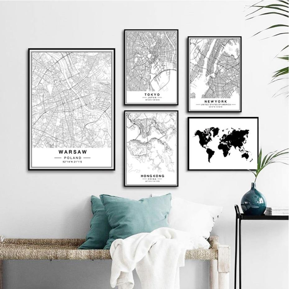 Nordic Minimalist World and City Map Gallery Wall Art Pictures  2 from Gallery Wallrus | Eclectic Wall Art & Decor with Worldwide Shipping