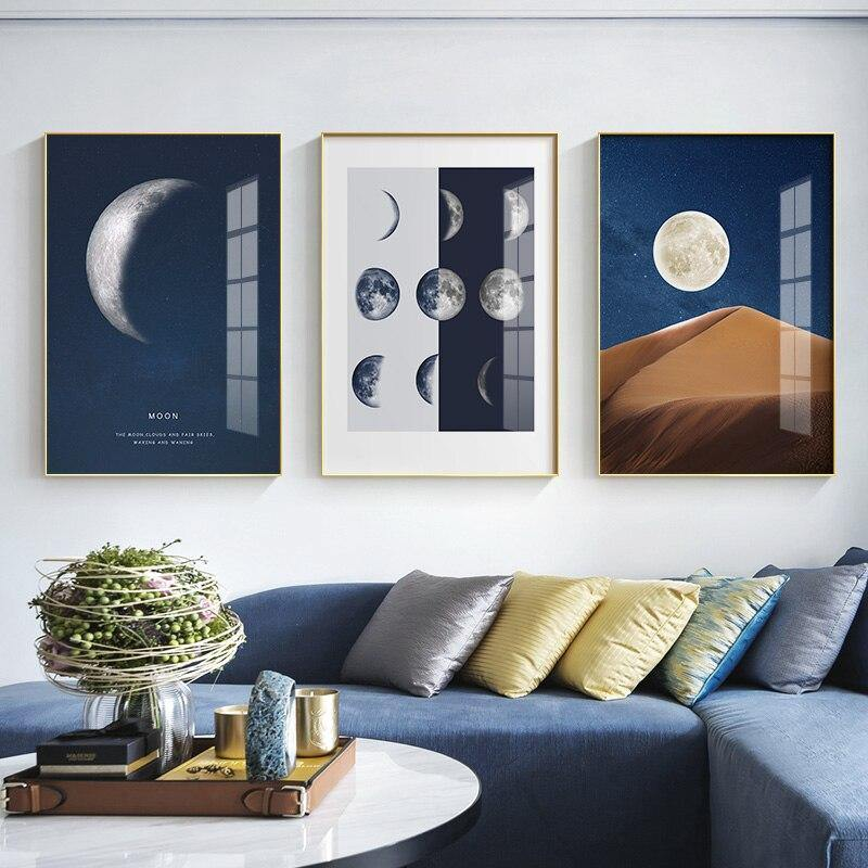 Minimalist Moon Night Sky Wall Art Trio from Gallery Wallrus | Eclectic Wall Art & Decor with Worldwide Shipping
