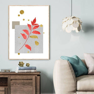 Minimalist Green & Red Leaves Art Pictures from Gallery Wallrus | Eclectic Wall Art & Decor with Worldwide Shipping