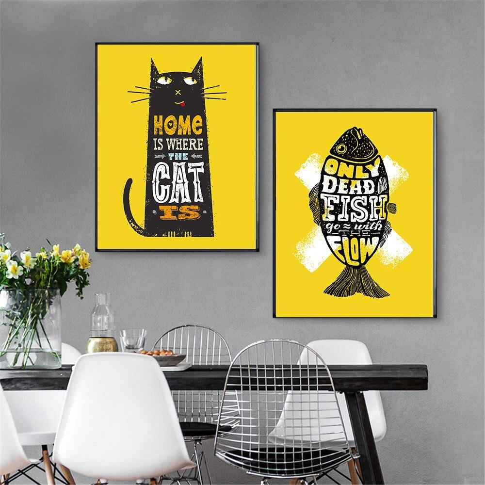 Yellow Cat and Fish Quote Art Pictures from Gallery Wallrus | Eclectic Wall Art & Decor with Worldwide Shipping