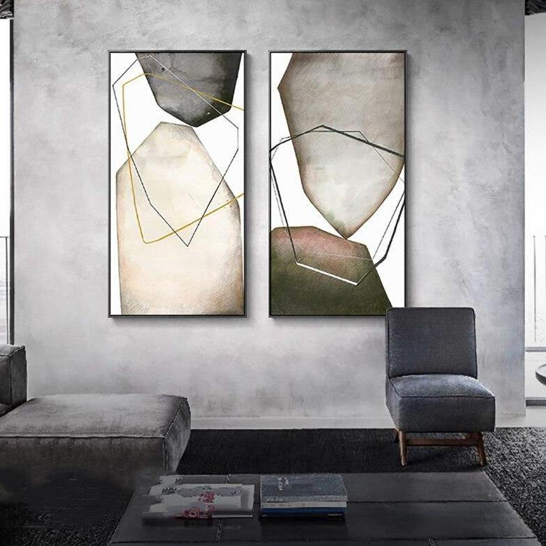 Abstract Minimalist Big Grey Stones Art Duo from Gallery Wallrus | Eclectic Wall Art & Decor with Worldwide Shipping