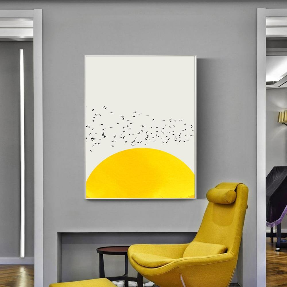 Abstract Minimalist Sunshine and birds Art Picture from Gallery Wallrus | Eclectic Wall Art & Decor with Worldwide Shipping