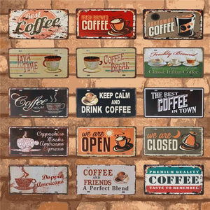 Coffee House Vintage Metal Wall Signs Mix & Match from Gallery Wallrus | Eclectic Wall Art & Decor with Worldwide Shipping
