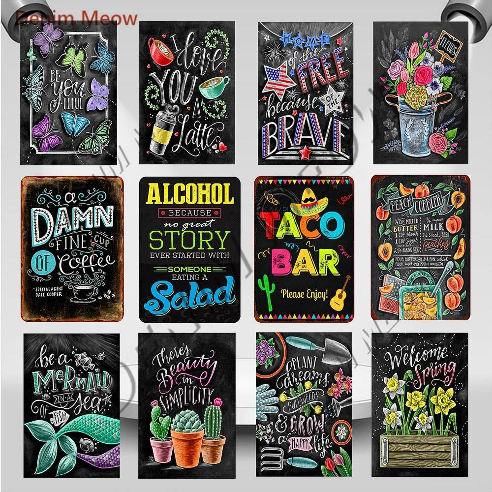 Funky Colorful Chalk Board Metal Wall Hanging Signs (Mix & Match) from Gallery Wallrus | Eclectic Wall Art & Decor with Worldwide Shipping