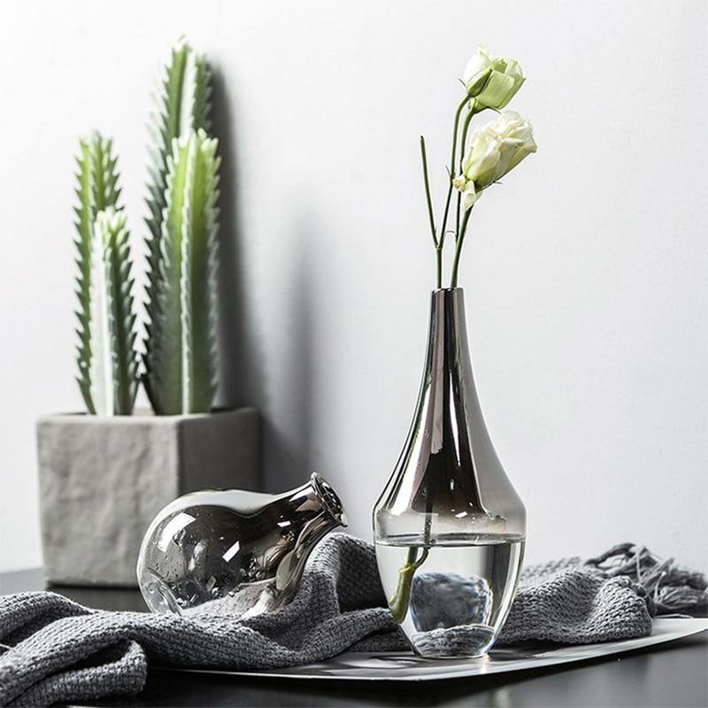 Silver Gradient Glass Flower Vases from Gallery Wallrus | Eclectic Wall Art & Decor with Worldwide Shipping