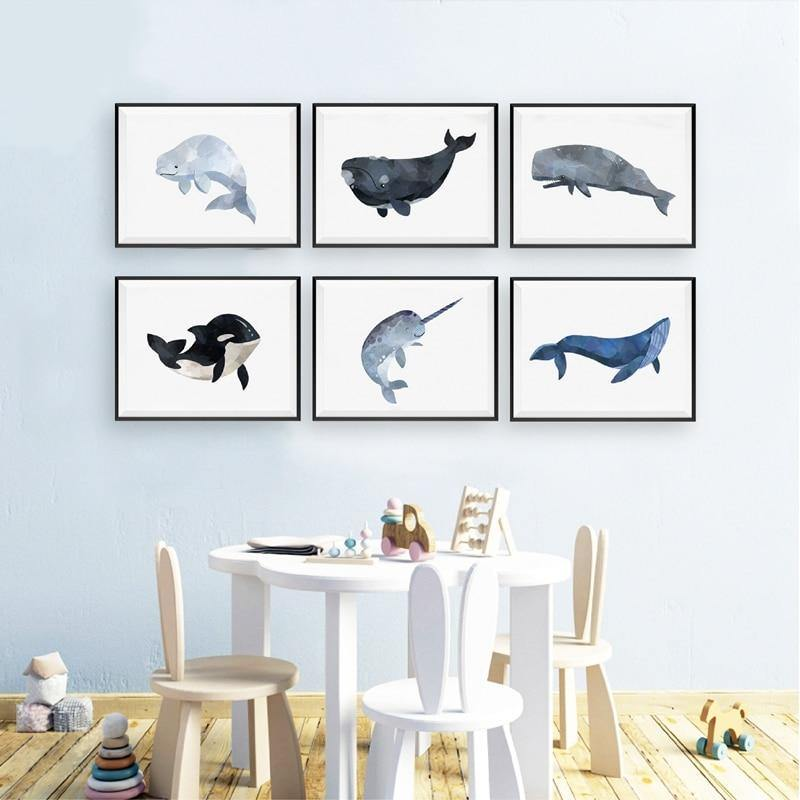 Sea Whales Watercolor Gallery Wall Art Prints from Gallery Wallrus | Eclectic Wall Art & Decor with Worldwide Shipping
