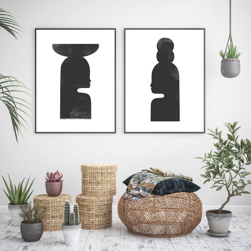 Woodblock Woman Illustration Wall Art Duo Prints from Gallery Wallrus | Eclectic Wall Art & Decor with Worldwide Shipping