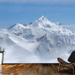 Blue Snow Mountain Scenery Nature Wall Mural from Gallery Wallrus | Eclectic Wall Art & Decor with Worldwide Shipping