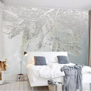 3D Frozen Gray Leaves Wall Mural from Gallery Wallrus | Eclectic Wall Art & Decor with Worldwide Shipping